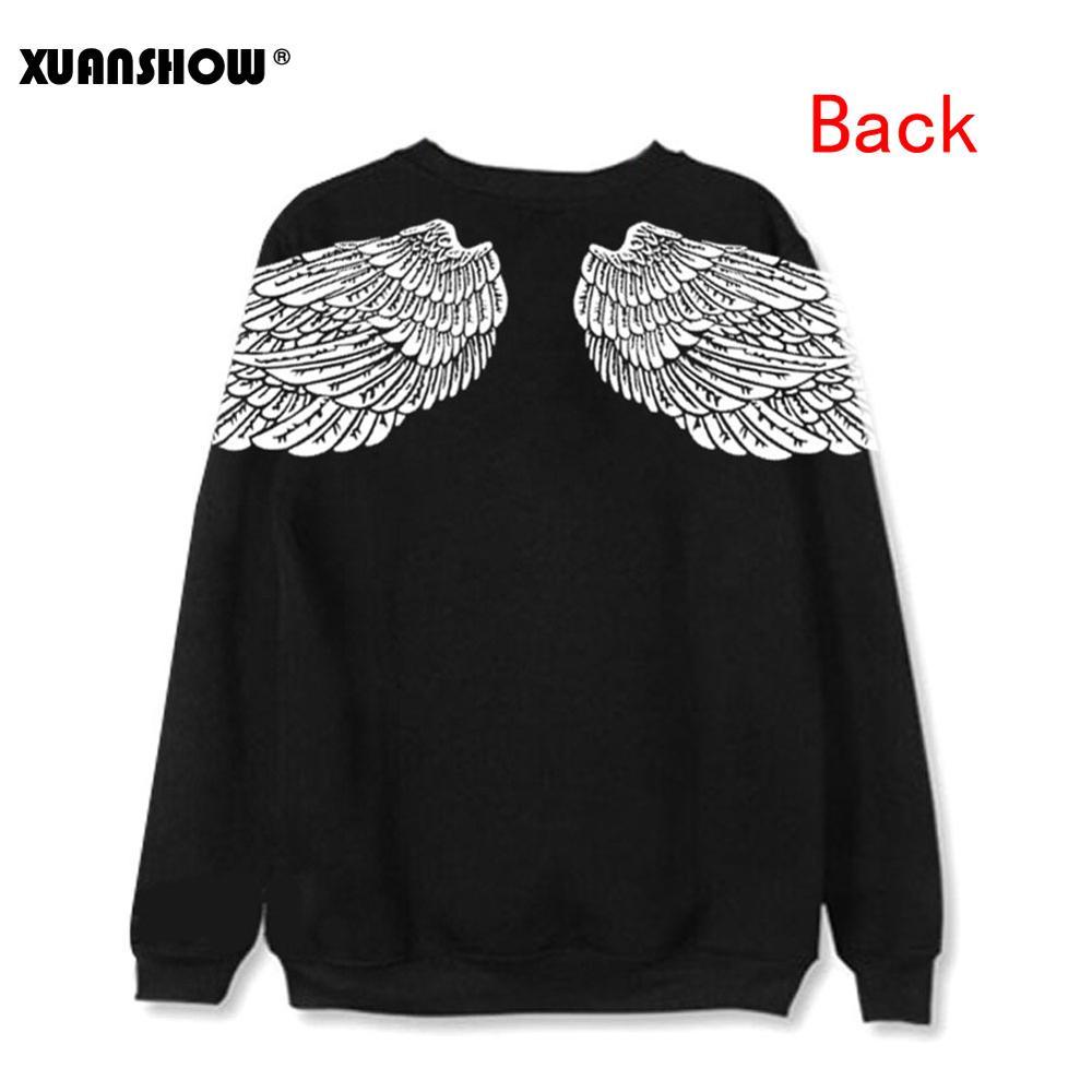 XUANSHOW Fashion Clothes Angel Wings Loose Printed Women Sweatshirts Men Hoodies Korea Casual Harajuku Tops Sudadera Mujer S-XXL