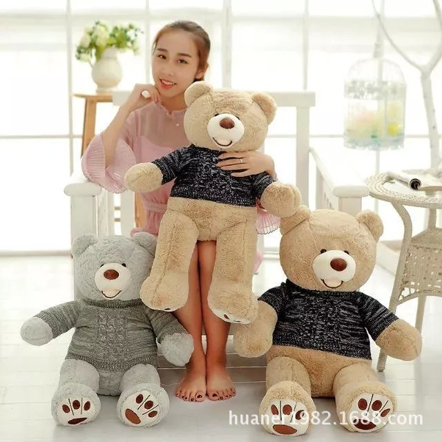 The couple big size teddy bear doll Sweater bears cuddly plush toy bear birthday gift for Valentine's Day 2017 new 160cm big giant sweater tactic plush stuffed toy teddy bear soft bears baby girl doll birthday gift pillow llf