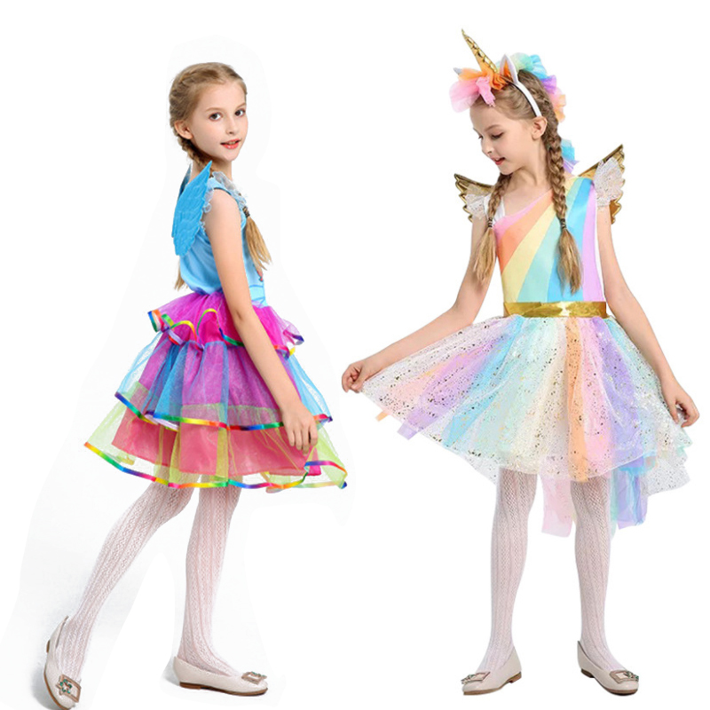 Muababy / Dress With A Unicorn For Girls; Children's Summer Holiday Dress With Rainbow Sequins; Carnival Costume Of Tulle For Gi