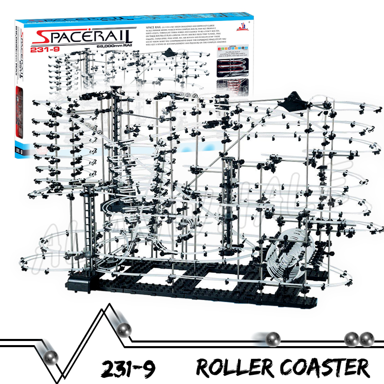 7000cm Rail High Level 9 Challenge Marble Run Roller Coaster Electric Elevator Model Building Kit Toys Rolling ball Sculpture 3000cm rail level 5 marble run night luminous glow in the dark roller coaster model building gifts maze rolling ball sculpture