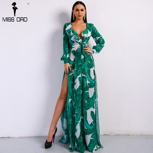 Missord 2018 Summer Deep V Two Split Print Beach Dress Kafftan Long Sleeve Ruffle Seaside Maxi Dress FT9106