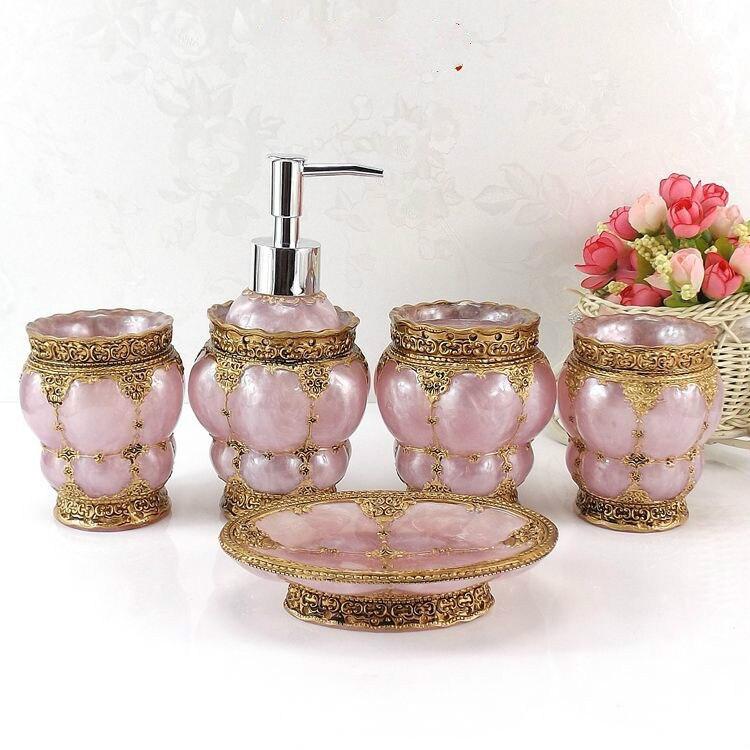 Rose mode accessoires de salle de bain en céramique ensemble de salle de bain Lotion bouteille porte-brosse à dents boîte à savon plateaux accessoires de salle de bain - 4