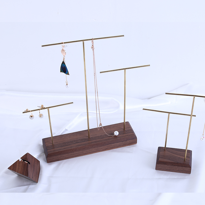 Solid Wood Black Walnut Ring Display Holder Pendant Earrings Display Stand Metal Stick Solid Wood Jewelry Display Stand