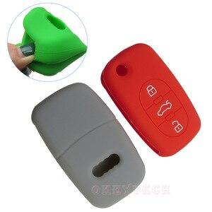 Image 2 - OkeyTech étui de protection pour clé de voiture, en silicone, de réparation à distance pliable, pour Audi A2 A3 A4 A6 A8 TT, coque de protection, nouvelle peau
