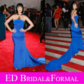 Katy Perry Evening Royal Blue Dress Celebrity Red Carpet Formal Gown Trumpet  Strapless  Elastic Satin Long Fitted Prom Dress