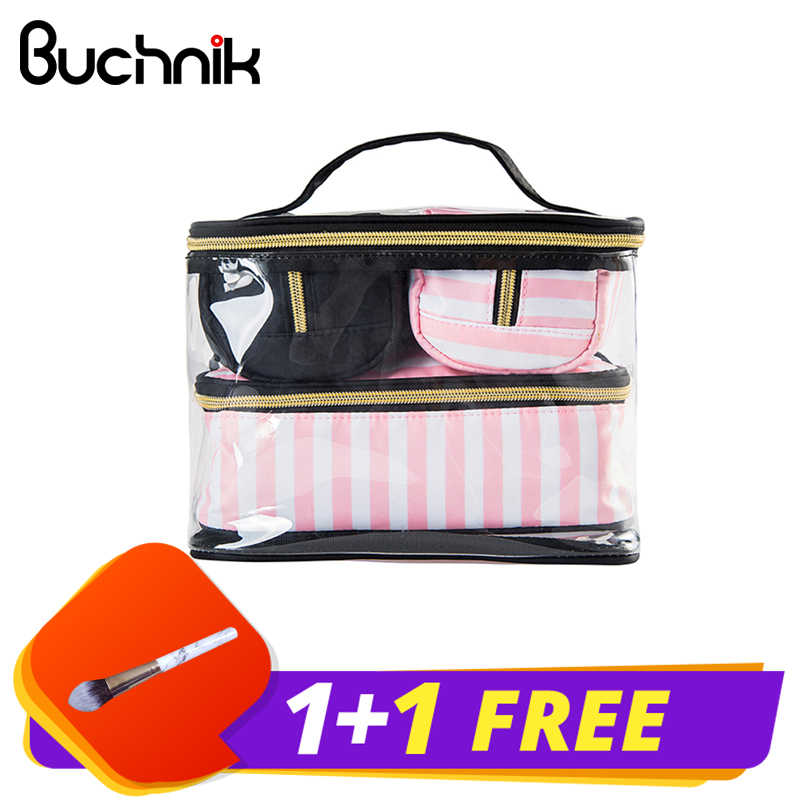 9531f6b0be58e8 4Pcs Lady's Cosmetic Bags Set Portable Makeup Tools Organizer Case Toiletry  Vanity Pouch Travel Box Accessories