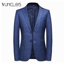 YUNCLOS, европейский размер, Мужской Блейзер, пиджак, формальный, деловой, блейзер, мужской, в клетку, с принтом, 2 пуговицы, элегантный, деловой, мужской пиджак