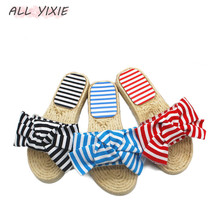 лучшая цена ALL YIXIE Summer Women Bow Slippers Bowknot Stripe Sandals Flat Non Slip Bathroom Slides Indoor Flip Flop Casual Beach Slippers