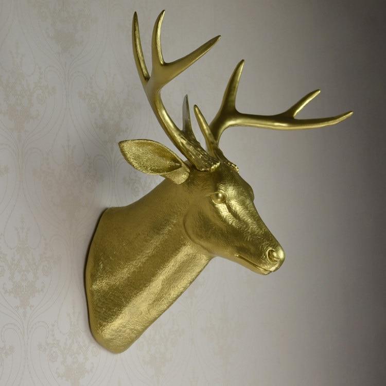 wall mounted gold buck bust whitetail deer head trophy wall art ...