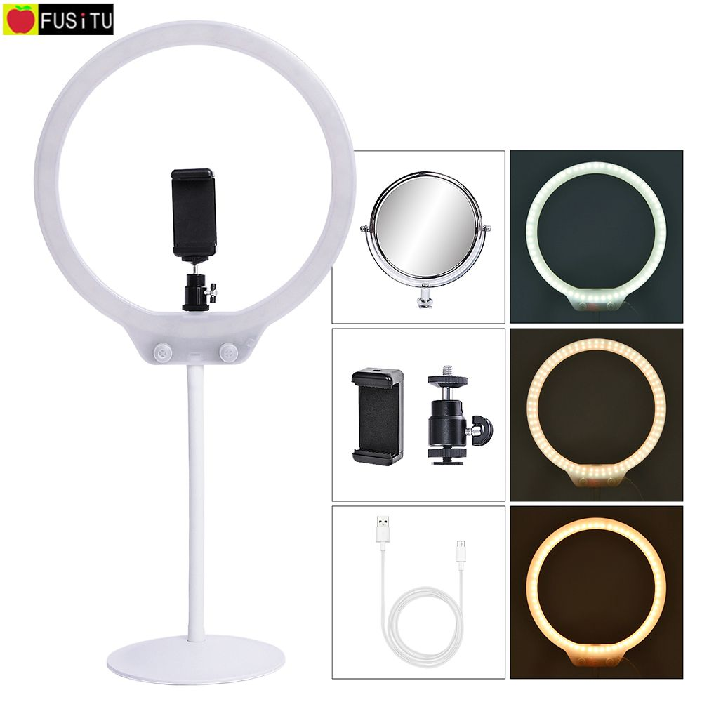 Fusitu Mini LED Selfie Ring Light Photographic Lighting Camera Phone Video Studio Flexible Table Ringlight With Stand For Makeup