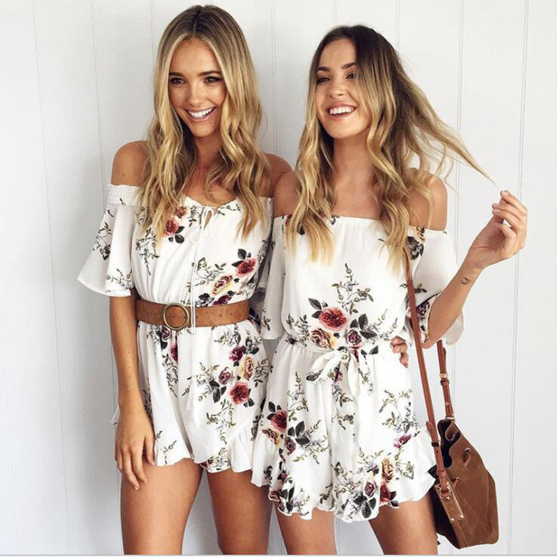 Women top quality Sexy white summer Floral Print off shoulder Bodycon rompers womens   jumpsuit   Women Elegant shorts Overalls 48