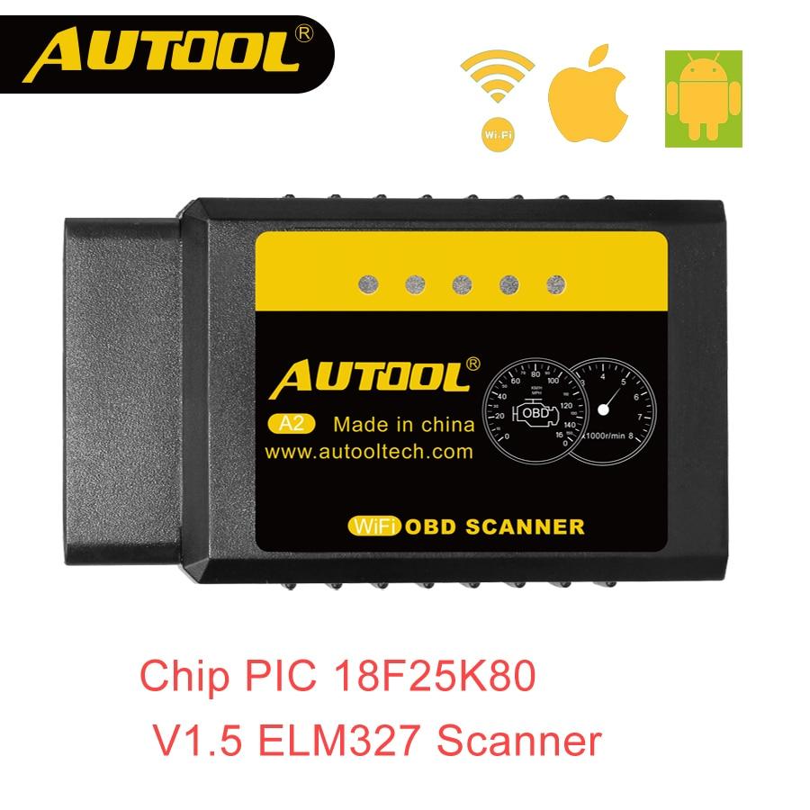 AUTOOL A2 ELM 327 V1.5 Wifi OBD2 escáner OBD 2 II ELM327 Auto diagnóstico del coche escáner lector de código para Android iOS ganar Iphone 25k80