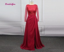 Burgundy Robe De Soiree Sexy O-Neck Lace Beading Evening Dresses Long Bride Banquet Luxury Evening Gowns Party Prom Dress цена