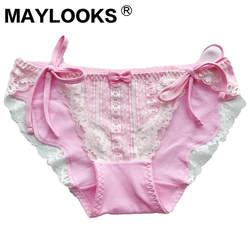 Maylooks Lace-up ремень с нижнее белье из хлопка аниме-атрибутика сексуальные трусики, трусики женские P1