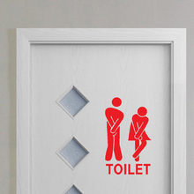 Removable Cute Man Woman Washroom Toilet WC Sticker Family DIY Decor(China)