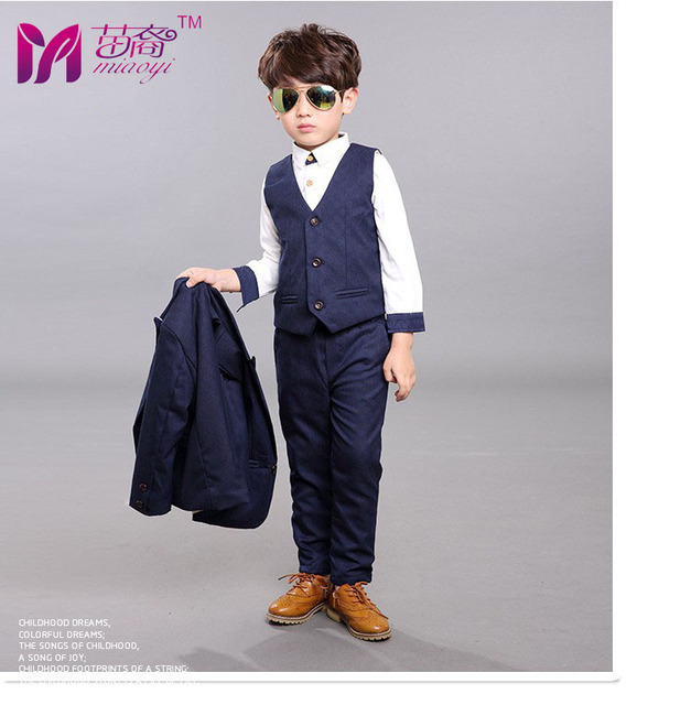 36956b5ea 4pcs High quality 2018 new fashion baby boys kids blazers boy suit for weddings  prom formal Silvery gray dress wedding boy suits