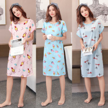 Casual nightdress female summer cotton short sleeve sweet fresh pajamas cute cartoon loose home service thin section