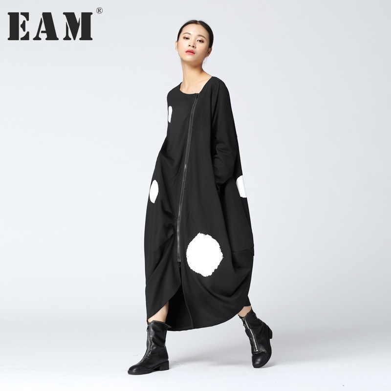 EAM 2017 New Autumn Round Neck Long Sleeve Solid Color Big Dot Split Joint Loose