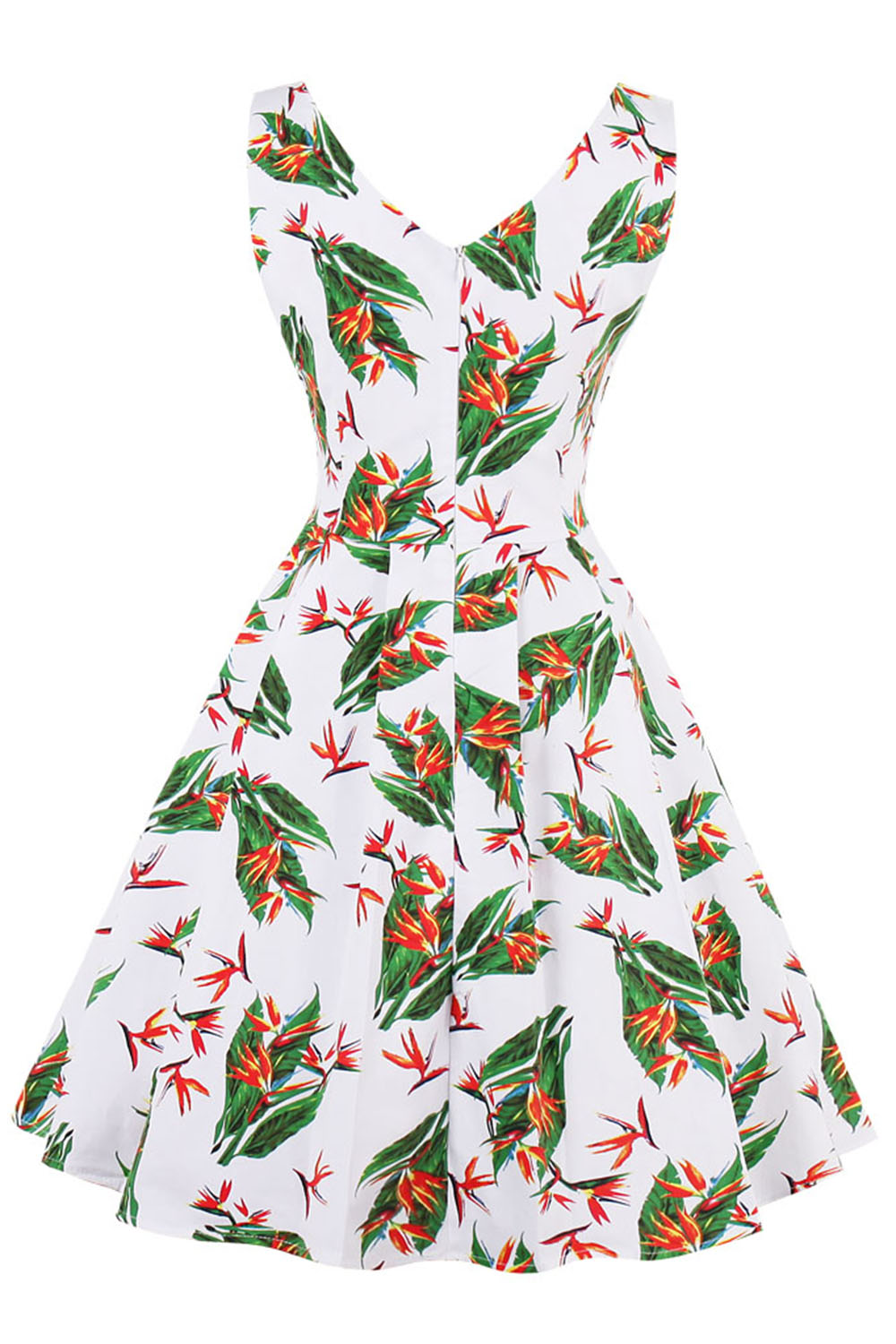 MisShow Vestidos 2018 Autumn Flamingo Printed Woman Vintage Dresses  Sleeveless 4XL Plus Size Party V Neck Zipper Cotton Dresses -in Dresses  from Women s ... e706f86a5a88