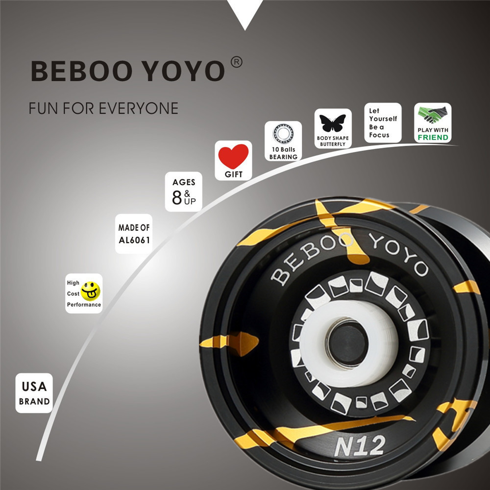 Free shipping Hot Sale Ball Bearing Beboo YOYO N12 Upgraded Version Alloy Aluminum yo yo Metal Professional Auldey Yo-Yo Toy beboo yoyo professional yoyo ball yo yo set kk bearing yo yo metal yoyo classic toys diabolo magic gift for children n11