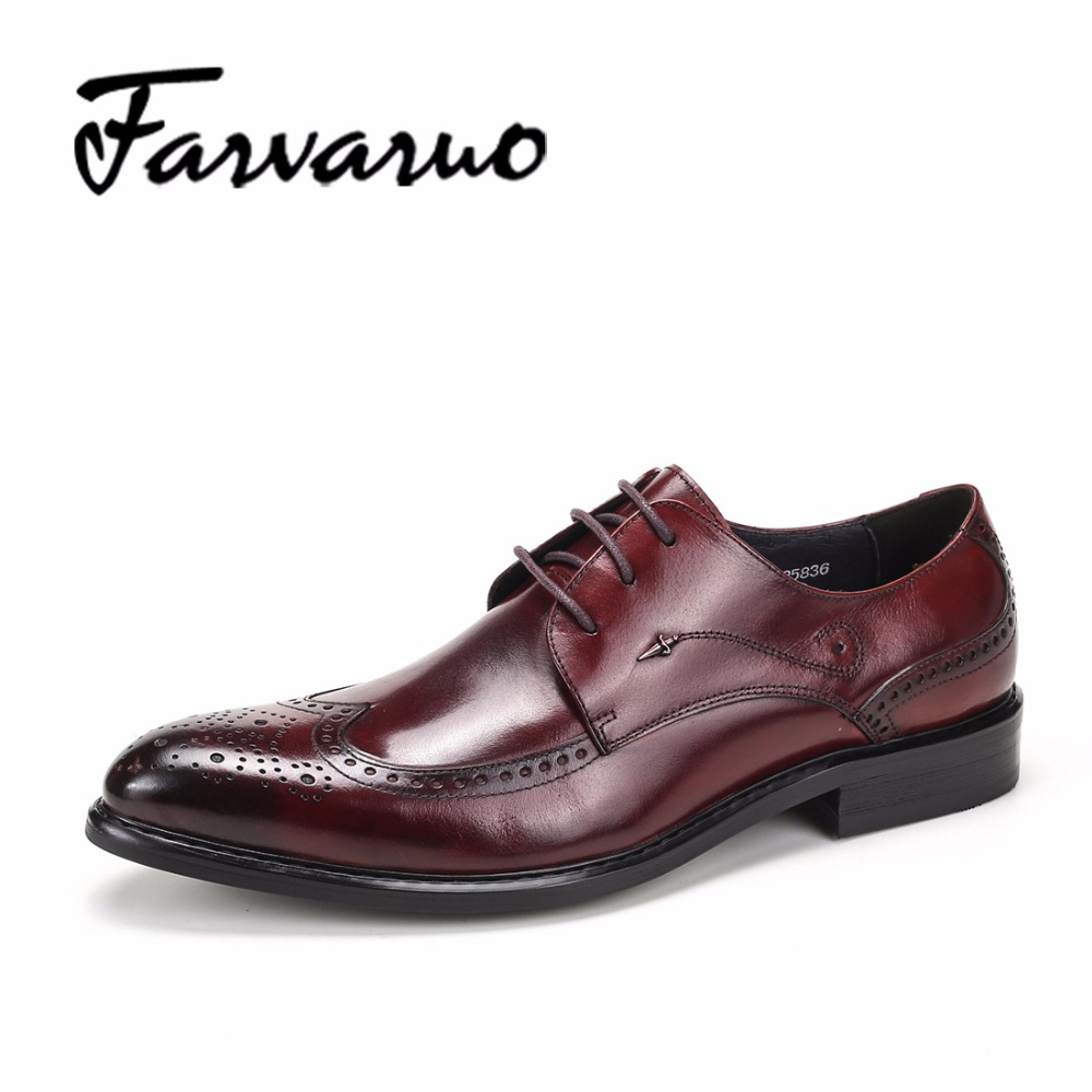 Farvarwo Brand 2017 Men Casual Oxford Brogue Genuine Leather Shoes Mens Business Shoes for Man Pointed Toe Vintage Dress Oxfords brown beauty make up brushes set 25pcs foundation blusher powder eyeshadow blending eyebrow eyeliner lip brush with makeup bag