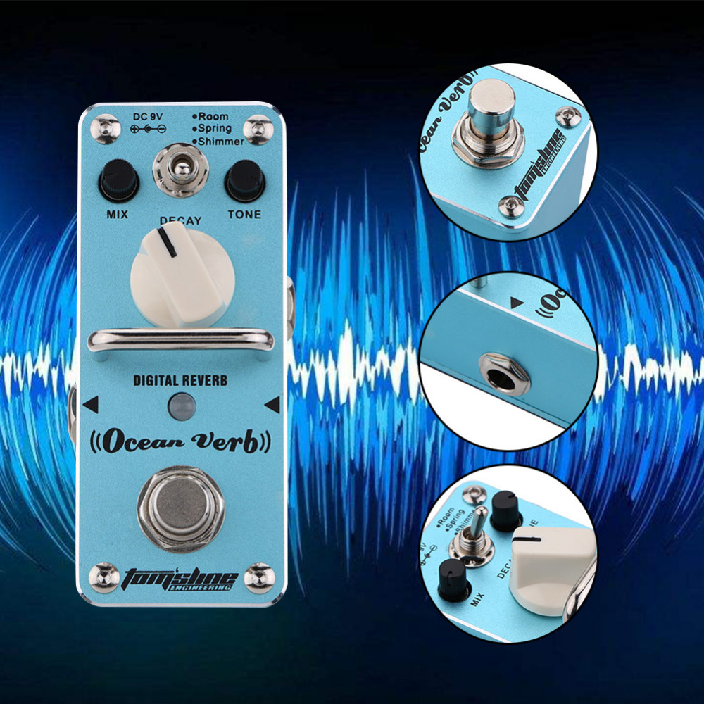Guitar Part Tomsline AOV-3 Ocean Verb Digital Reverb Electric Guitar Effect Pedal Mini Single Effect With True Bypass joyo jf 317 space verb digital reverb mini electric guitar effect pedal with knob guard true bypass