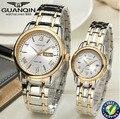 Venta al por mayor Reloj de Cuarzo marca de lujo GUANQIN zafiro resistente al agua Luminosa relojes de los hombres de Las Mujeres Amantes relojes