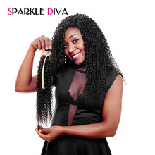 [SPARKLE DIVA HAIR] 1 Bundle Peruvian Kinky Curly Hair Extensions Machine Double Weft 100% Remy Human Hair Weave Natural Color