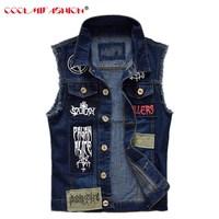 Ripped Denim Waistcoat for Men Patches Design Jeans Vest Men Cowboy Vest Man Sleeveless Jeans Vest Frayed chalecos para hombre