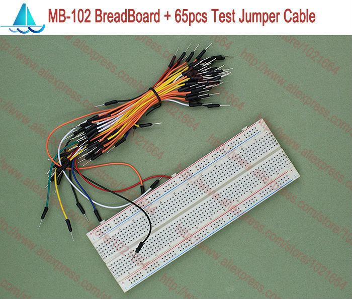 MB-102 Solderless Breadboard MB102 + 65pcs Male To Male Jumper Cable Wire DIY Test Kits
