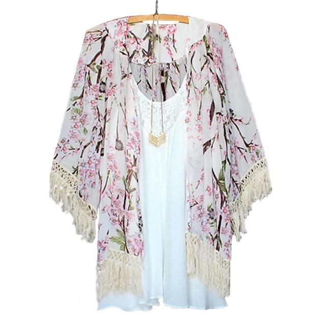 2017 D'été Harajuku Style Femmes Floral Imprimé En Mousseline de Soie Blouses Cape Kimono Cardigan Manteau Tricots Chemises Cover Up Tops