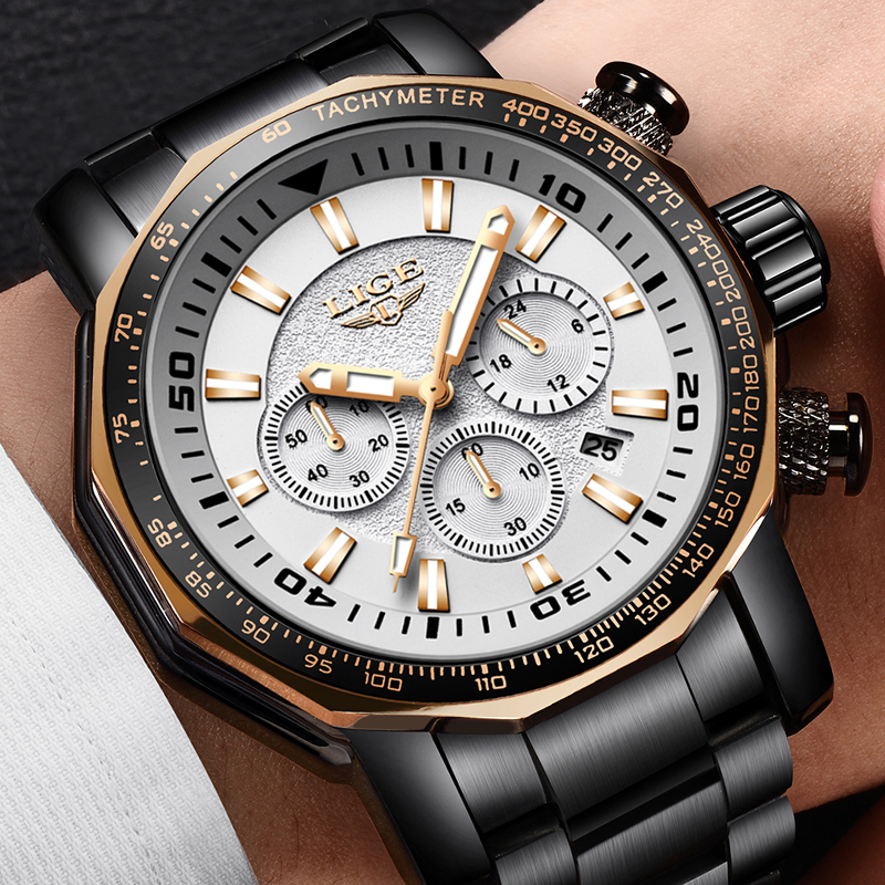 Men Watches LIGE Top Brand Luxury Waterproof Sports Watch Men Business Large dial Stainless Steel Quartz