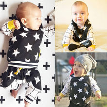 Toddler Baby Kids Boy Girl Tops Hooded Sweatshirts Hoodies + Pants Casual Star 2pcs Outfits Set Clothing