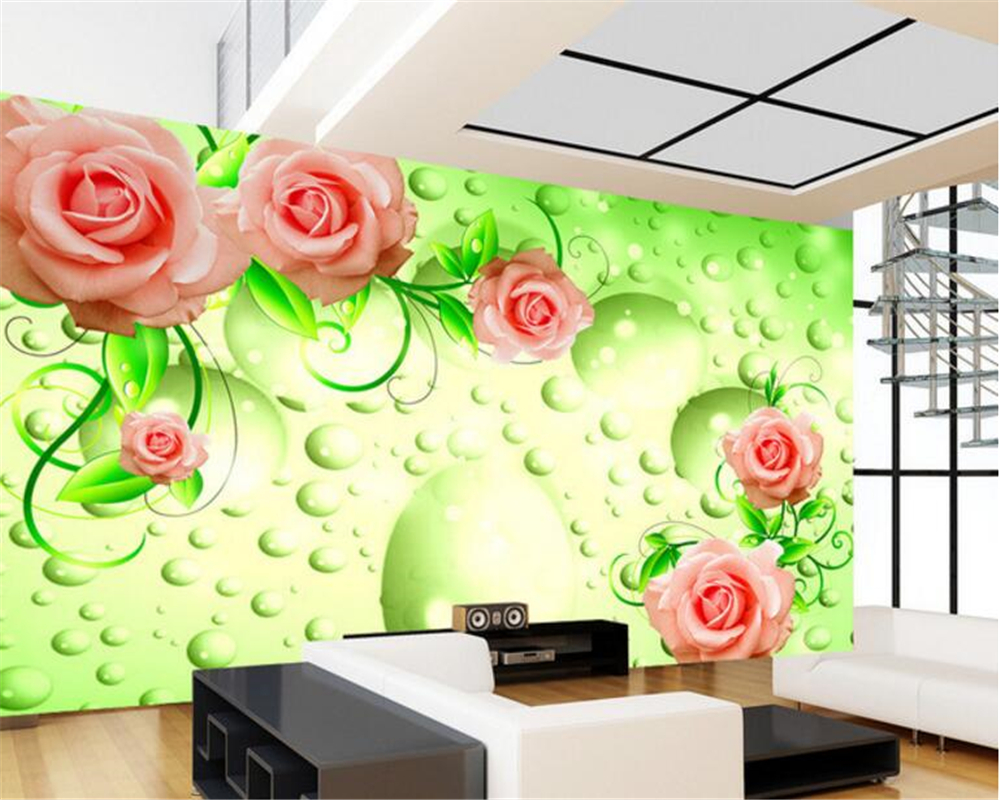 beibehang wallpaper Simple fashion creative dream green roses TV ...