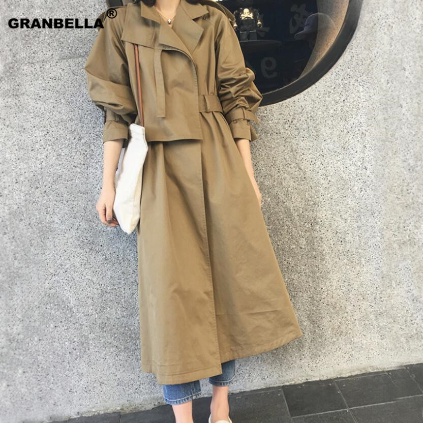 2019 New Brand Women   Trench   Coat Long Windbreaker Europe America Fashion Trend Double-Breasted Slim Long   Trench   With Belt