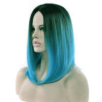 Soowee 11 Colors Black To Blue Ombre Hair Wig Synthetic Hair Short Bob Wigs Straight Cosplay Wig for Black Women