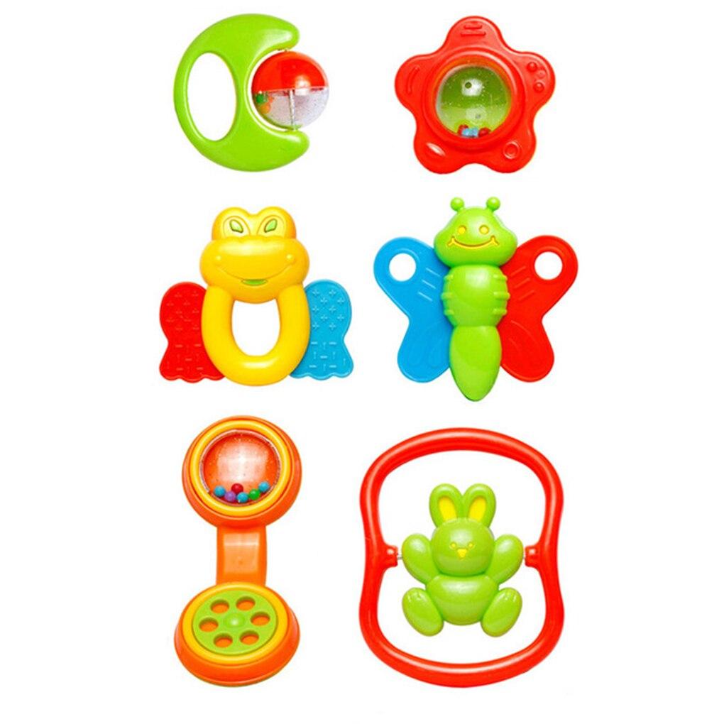 6pcs Infant Baby Rattles Newborn Plastic Rattles Hand Jingle Shaking Bell 0-12M Teether Developmental Mobile Educational Toys