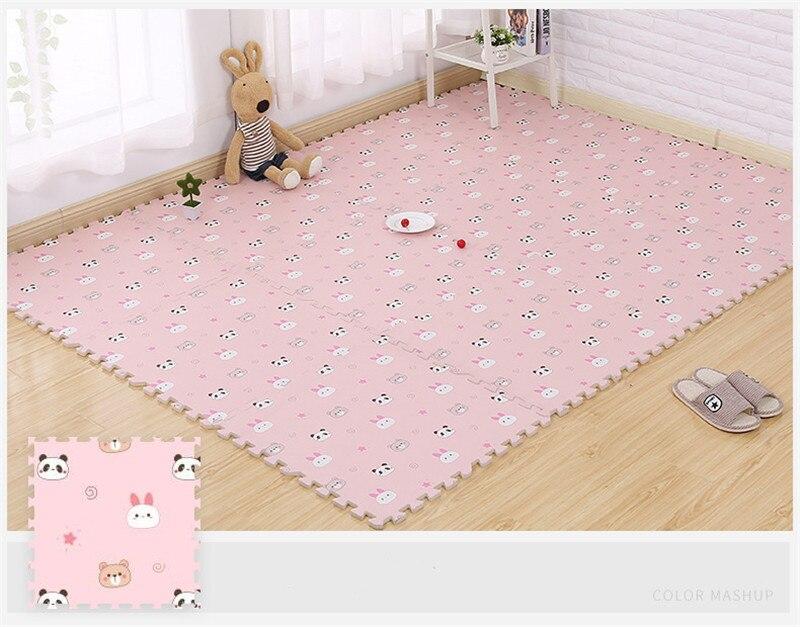 HTB1DqGFaq5s3KVjSZFNq6AD3FXaq EVA Foam Children's Mat Split Joint Baby Play Mat Puzzle Cartoon Panda Patterns Soft Floor Carpet For Baby Crawling Exercise