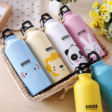 Kids Gift Portable Water Bottle Cute Animal Pattern Bottle Cup Outdoor Sport Hiking Climping Drinking Bottle with Hooker 500ml(China)
