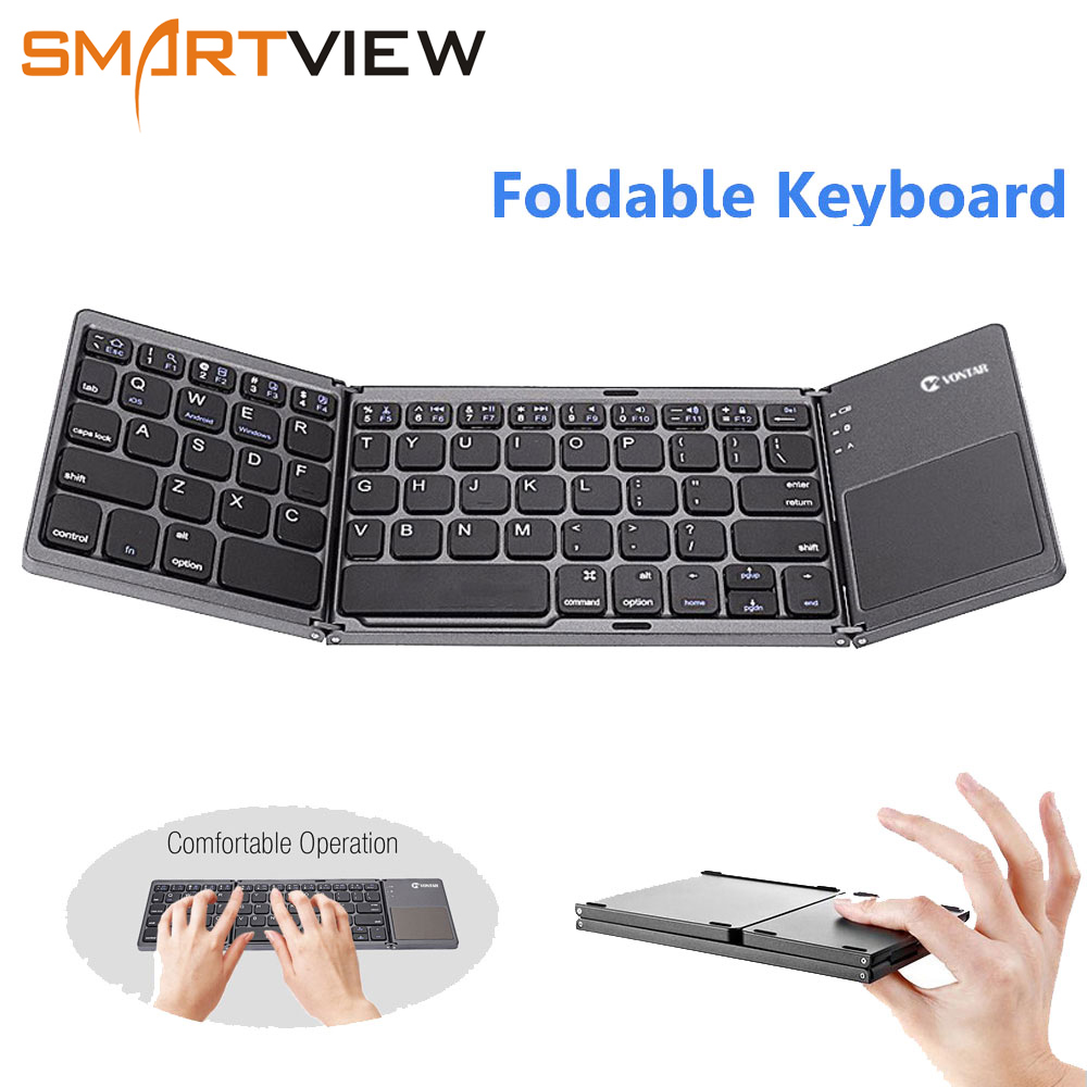 Portable Folding <font><b>Bluetooth</b></font> <font><b>Keyboard</b></font> Wireless Rechargeable Foldable Klavye <font><b>Touchpad</b></font> Keypad for IOS/Android/Windows ipad Tablet image