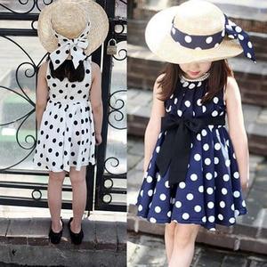 Summer Baby Girl Dress Cute Kids Toddlers Print Polka Dots Chiffon Tunic Bowknot Sundress Dresses For Girls Chidren Clothes(China)