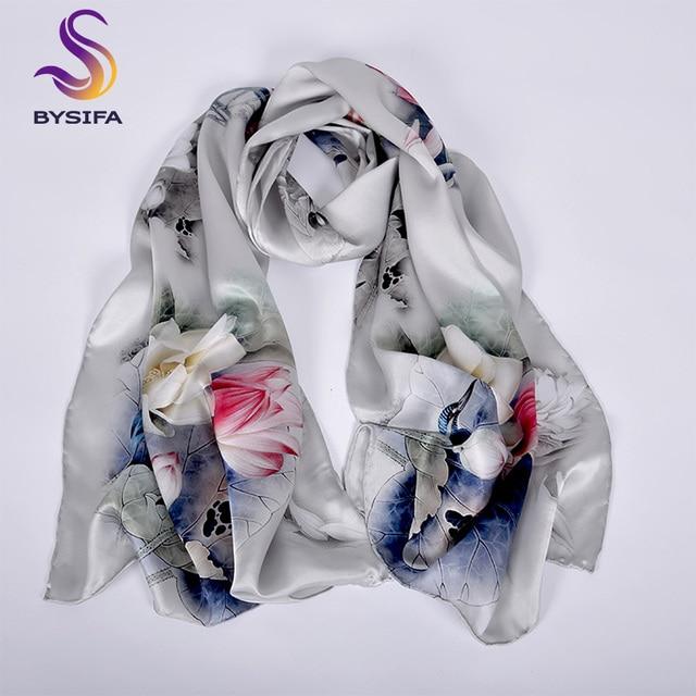 [BYSIFA] Luxury Grey Pink Women Silk Scarf Shawl Fashion Natural Silk Long Scarves New Lotus Design Elegant Satin Neck Scarf