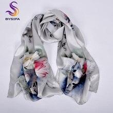 [BYSIFA] Luxus Grau Rosa Frauen Silk Schal Schal Mode Natürliche Seide Lange Schals Neue Lotus Design Elegante Satin neck Schal