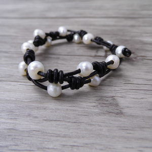Image 3 - Boho wrap Pearl Leather bracelet Pearl wrap bracelet Single wrap Bracelet Real Pearl Jewelry yoga jewelry