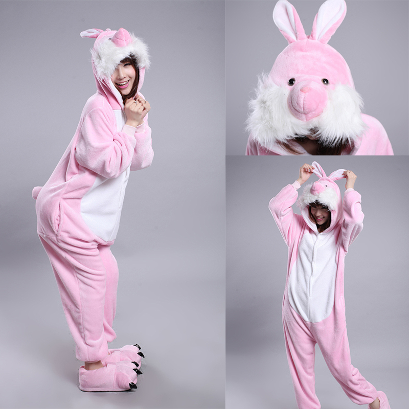 New Rabbit Animal Onesie For Adults Women Men Unisex Romper Pajamas For Christmas Halloween Dress Party Flannel Cosplay Costumes