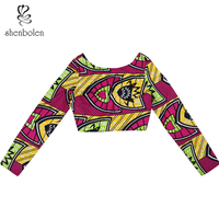 Shenbolen African Traditional Clothing for women Dahiki Short Top Wax Printing Fabric Clothe Party Clothes