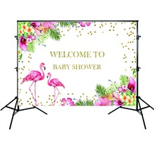 Mehofoto Newborn Baby Shower Background Flamingo Backdrop Spring Flowers Pink Theme Photography Props
