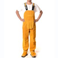 Welding Overalls High Temperature Protective Clothing Cowskin Flame Retardant Safety Clothes Wear Resistant Welders Bib Overall