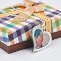 Foto Colar Medalhão de Prata maciça, Colar personalizado A Sua Imagem, Caligrafia gravado Colar de Coração, memória Presente