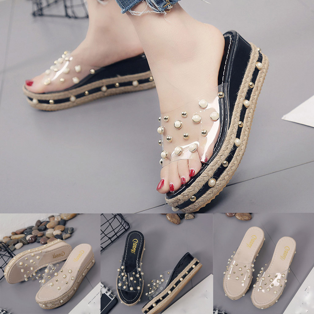 HTB1DqHKaHj1gK0jSZFuq6ArHpXaw Fashion Jelly Sandals Summer Candy Slippers Woman Shoes Flats Ladies Womens Zapatos Mujer Slip On Pearl Beach Wedges Jelly Shoe